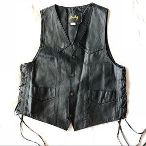 Vintage Lucky leather motorcycle vest size M